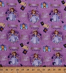 Cotton Disney Sofia the First Princess in Training Books Castle Princesses Royal Achiever Fairy Tales Fairies Words Kids Children's Girls Purple Cotton Fabric Print by the Yard (D764.44)