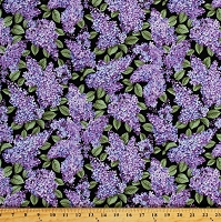 Cotton Lilacs in Bloom Floral Purple Flowers Garden Blossoms on Black Spring Cotton Fabric Print by the Yard (05480-12)