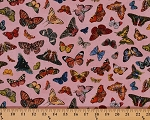 Cotton Butterflies on Pink Colorful Spring in Paris Cotton Fabric Print by the Yard (4903-pink)