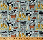 Cotton Cats Cute Animals Pets Birds Mice You Had Me at Meow Blue Barn Wood Cotton Fabric Print by the Yard (22159-42)
