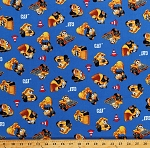 Cotton Cat Machines Dump Trucks Bulldozers Cement Mixers Cranes Caterpillar Construction Vehicles Cones on Blue Cotton Fabric Print by the Yard (C8101-BLUE)