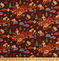 Cotton Cat Machines Construction Vehicles Bulldozers Cement Mixers Caterpillar Kids Brown Cotton Fabric Print by the Yard (C8100-BROWN)