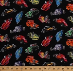 Cotton In Motion Hot Rods Classic Cars Vintage Race Racing Automobiles Black Cotton Fabric Print by the Yard (398-black)