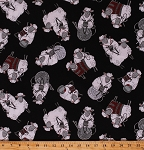 Cotton Sheep Knitting Wool Yarn Knitters Animals Lambs Sweaters Black Cotton Fabric Print by the Yard (KNIT-C7587)