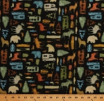 Cotton Campers Moose Wolves Bears Canoes Ducks Silhouettes on Black Camping Northwoods Back Country Cotton Fabric Print by the Yard (1649-26734-J)