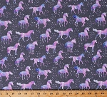 Cotton Unicorns Stars Fantasy Horses Mythical Creatures Magical Fairytale Pink Purple Animals on Gray One of a Kind Cotton Fabric Print by the Yard (50912-X)
