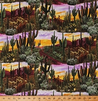 Cotton Cactus Cacti Succulents Desert Plants Southwestern Southwest Scenic Sunset Landscape Cotton Fabric Print by the Yard (WEST-C6804-MULTI)
