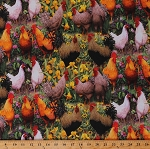 Cotton Roosters Chickens Hens Birds Farm Animals Flowers Floral Country Scenic Rooster & Flowers Cotton Fabric Print by the Yard (WG-1077-7C-1MULTI)