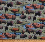 Cotton Buffalo American Bison Herd Wildlife Animals Nature Great Plains Scenic Green Where Buffaloes Roam Cotton Fabric Print by the Yard (9701GREEN)