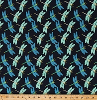 Cotton Dragonflies Blue Dragonfly Insects Bugs Nature Butterfly Dance Cotton Fabric Print by the Yard (50235-1)