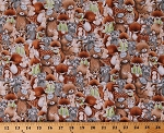 Cotton Cute Woodland Animals Foxes Hedgehogs Fawns Deer Squirrels Bears Owls Raccoons Allover Bunnies By The Bay Kids Cotton Fabric Print by the Yard (BUNNIES-C6721-MULTI)