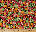 Cotton Bees Bumblebees Bugs Insects in Multi-Color Circles Spots Dots Ellery Cotton Fabric Print by the Yard (1649-26287-J)