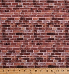 Cotton Bricks Cobblestones Brick Wall Pavement Stones Blocks Landscape Architecture Building Bricklaying Masonry Stonework Naturescapes Rust Red Cotton Fabric Print by the Yard (21395-38)