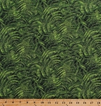 Cotton Ferns Fronds Leaves Leaf Plants Plant Life Botanical Nature Outdoors Landscape Naturescapes Green Cotton Fabric Print by the Yard (21404-76)