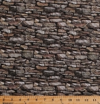 Cotton Stone Walls Rocks Stonework Blocks Bricks Masonry Building Architecture Nature Landscape Naturescapes Cotton Fabric Print by the Yard (21393-94)