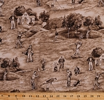 Golf Club Golf Course Golfers Golfing Sports Clubhouse Putting Green Flags Trees Sepia Scenic Cotton Fabric Print by the Yard (BTR6900-Sepia)