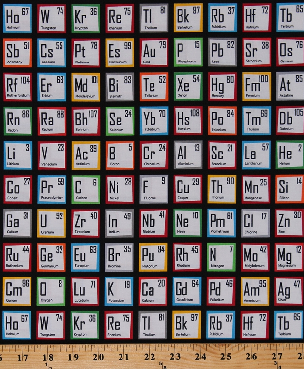 cotton periodic table elements atomic numbers chemical elements chemistry science fair multi cotton fabric print by the yard aib 14736 205 - Periodic Table Fabric