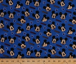 Cotton Mickey Expressions Disney Mickey Mouse Faces on Blue Kids Cotton Fabric Print by the Yard (15190-blue)