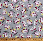 Cotton Cute Unicorns Hearts Despicable Me It's So Fluffy I Heart Fluffy Unicorns on Gray Kids Cotton Fabric Print by the Yard (D773.20)