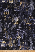 Cotton New York City Nightscape Skyscrapers City Lights at Night Statue of Liberty Cityscapes Cotton Fabric Print by the Yard (08347-12)