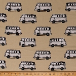 Cotton Bus Buses Vans Cars Volkswagen Volkswagon Vintage Scrapbook Vehicles Transportation Tan Cotton Fabric Print By the Yard (03712-07)