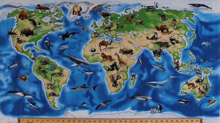 24 x 44 panel world animals wildlife continents countries oceans 24 x 44 panel world animals wildlife continents countries oceans map world atlas geography cotton fabric panel 1296 blue gumiabroncs Gallery