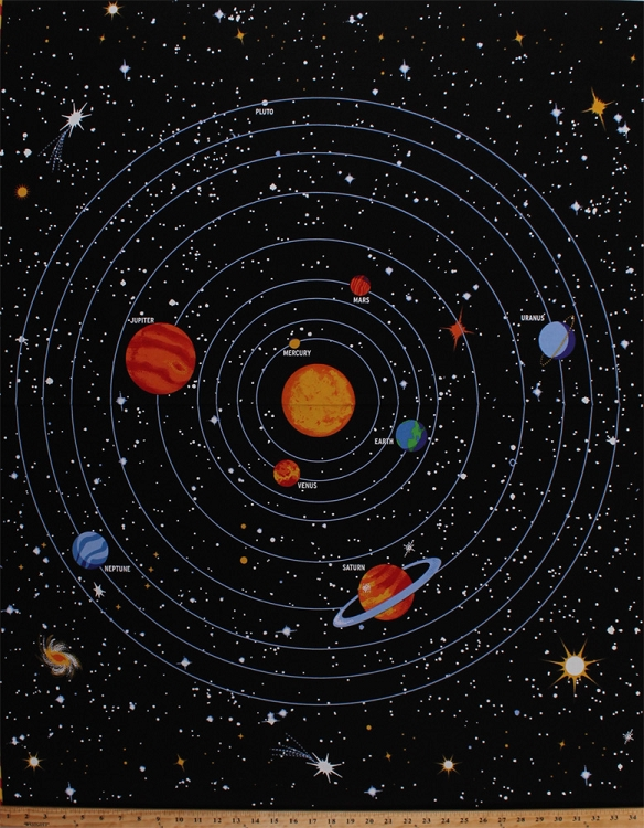 34 5 x 44 panel solar system planets orbits sun outer for Fabric planets solar system