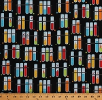 Cotton Multi-Color Test Tubes on Black Science Experiments Chemistry Lab Laboratory Education School Teachers Science Fair 2 Cotton Fabric Print by the Yard (SRK-17928-205MULTI)