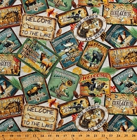 Cotton North Woods Postcards Patches Wildlife Animals Hunting Moose Bears Deer Loons Lake Cabin Northwoods Cotton Fabric Print by the Yard (1649-26260-E)