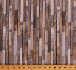 Cotton Barn Wood Gray Brown Wooden Boards with Bolts Floorboards Farmhouse Siding Surfaces Landscape Digital Cotton Fabric Print by the Yard (AWHD-18234-276-COUNTRY)