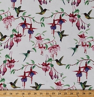 Cotton Fuchsias and Hummingbirds Ruby-throated Hummingbird Birds Flowers Spring Floral Nature on White Cotton Fabric Print by the Yard (Y2354-1White)
