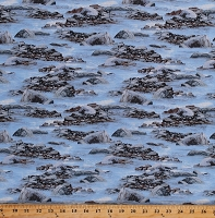 Cotton Rocks Rocky Shore Water Stones Landscape Roaming Wild Blue Cotton Fabric Print by the Yard (1662-30172-494)