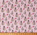 Cotton Cute Rabbits Pretty Bunnies and Flowers Bunny Butterflies Hearts Woodland Animals Novelty of the Month Pink Cotton Fabric Print by the Yard (C9005-Pink)