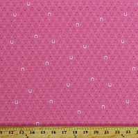 Cotton Pink Horseshoes Horse Shoes Stars Cowgirl Western Tiny Happy Lucky in Coral Cotton Fabric Print by the Yard (ACK-16924-143CORAL)