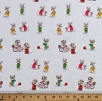 Cotton Cute Mice Playful Mice Mouse Anthropomorphic Animals Trixie Heather Ross Kids White Cotton Fabric Print by the Yard (50897-4)