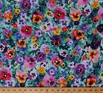 Cotton Pansies Pansy Flowers Floral Spring Garden All Purpose Flower Landscape Digital Cotton Fabric Print by the Yard (Q4435-437-PANSY)