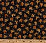 Cotton Bear Paws Beehives Bee Skeps Bees Honey Flowers Black Cotton Fabric Print by the Yard (00688-12)