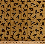 Cotton Bear Paws Black Bear Cubs Teddy Bears Bees Beehives Honey Gold Cotton Fabric Print by the Yard (00681-33)