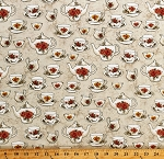 Cotton Teacups Teapots Cups Saucers Dishes Tea Party High Tea Afternoon Tea Beige Cotton Fabric Print by the Yard (42827-2)