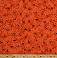 Cotton Black Spiders Spiderwebs Cobwebs Webs Boo Orange Cotton Fabric Print by the Yard (13894-ORANGE)