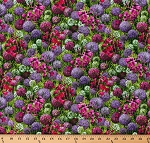 Cotton Wildflowers IX Flowers Purple Pink Floral Meadow Garden Spring Cotton Fabric Print by the Yard (33380-11)