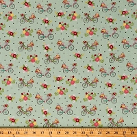 Cotton Bikes Retro Bicycles Flowers Floral Transportation Vintage Adventure Aqua Green Cotton Fabric Print by the Yard (C7272-AQUA)
