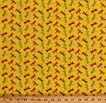 Cotton Dragonflies Multi-Color Dragonfly Insects Bugs on Yellow Butterflies Are Free Cotton Fabric Print by the Yard (120-10921)
