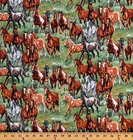 Cotton Horses Equestrian Wild Horses Herd Farm Animals Running Country Green Wild & Free Cotton Fabric Print by the Yard (9901GREEN)