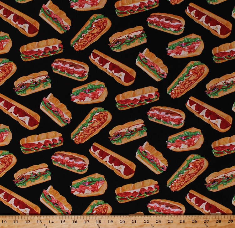 Cotton Sandwiches Sub Subs Food Picnic Lunches Ham Turkey Sandwich Veggies  Meat Sandwich On Black Kitchen Culinary Cotton Fabric Print By The Yard ...