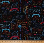 Cotton Faith Religious Words Bible Scripture Scriptural Verses Bright Neon Words on Black Cotton Fabric Print by the Yard (faith-c4198-brite)