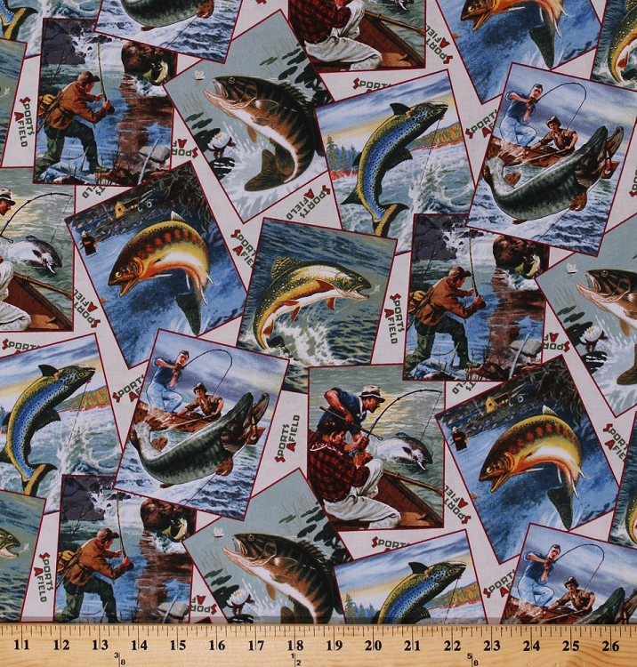 Cotton fish fishing bass rainbow trout photographs for Fish fabric by the yard