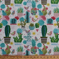 Cotton Cactus Cacti Succulents Pineapples Birds Flowers Desert Plants on White Southwestern Tropical Sun N'Soil Cotton Fabric Print by the Yard (B-9449-41)