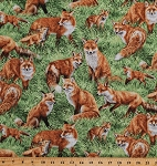 Cotton Foxes Red Fox Kit Vixen Reynard Woodland Animals Grass Meadow Nature American Wildlife Cotton Fabric Print by the Yard (112-29501)