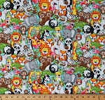 Cotton Cute Zoo Animals Jungle Animals Pairs Animal Kingdom Sloths Giraffe Elephant Foxes Llama Two by Two Kids Cotton Fabric Print by the Yard (4561-48)